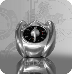 Bengt Ek Design Swiss Car Shape Brushed Aluminium Kitchen Egg Timer - 60 Minute Wind Up