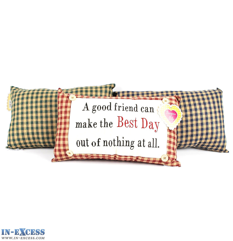 "Novelty ""A Good Friend Can Make The Best Day"" Cushion 38 x 23cm Blue, Green or Red"