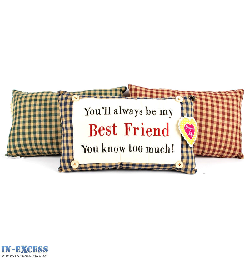 "Novelty ""You'll Always Be My Best Friend"" Cushion 38 x 23cm Blue, Green or Red"