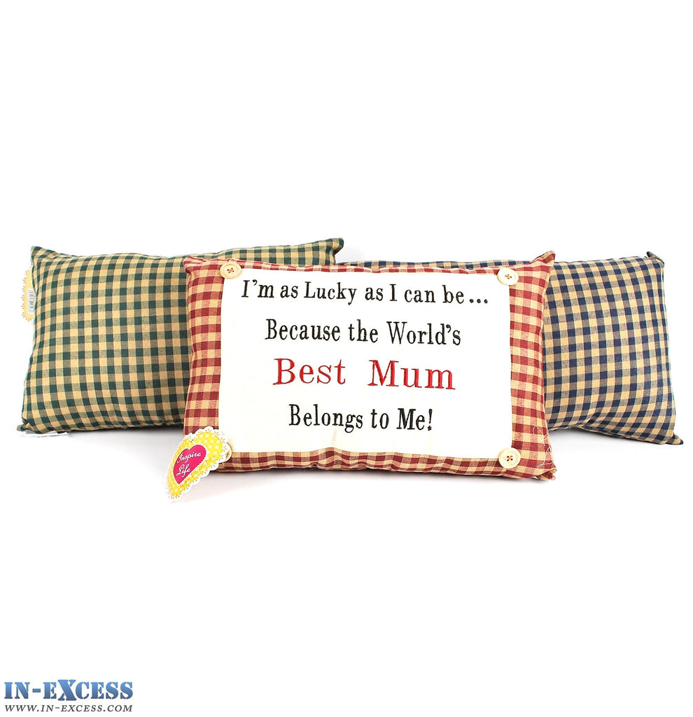 "Novelty ""World's Best Mum Belongs To Me!"" Cushion 38 x 23cm Blue, Green or Red"