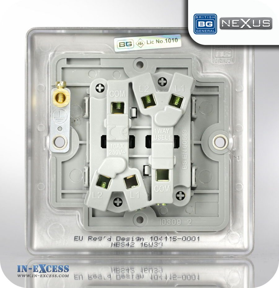 BG Nexus Metal Double Light Switch - Brushed Steel