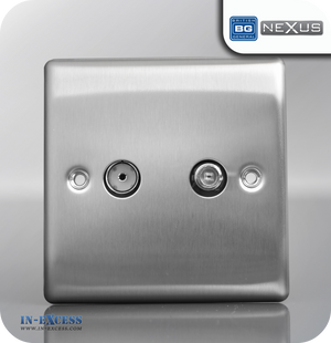 BG Nexus Metal Satellite and Co-axial Sockets - Brushed Steel