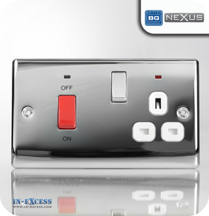 BG Nexus Metal Cooker Control Unit with Switched Socket and Neons - Polished Chrome