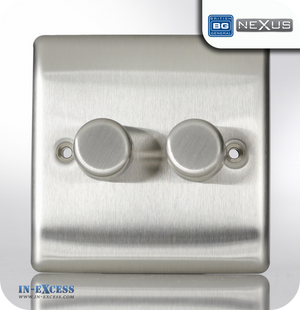 BG Nexus Metal Double Dimmer Light Switch - Brushed Steel