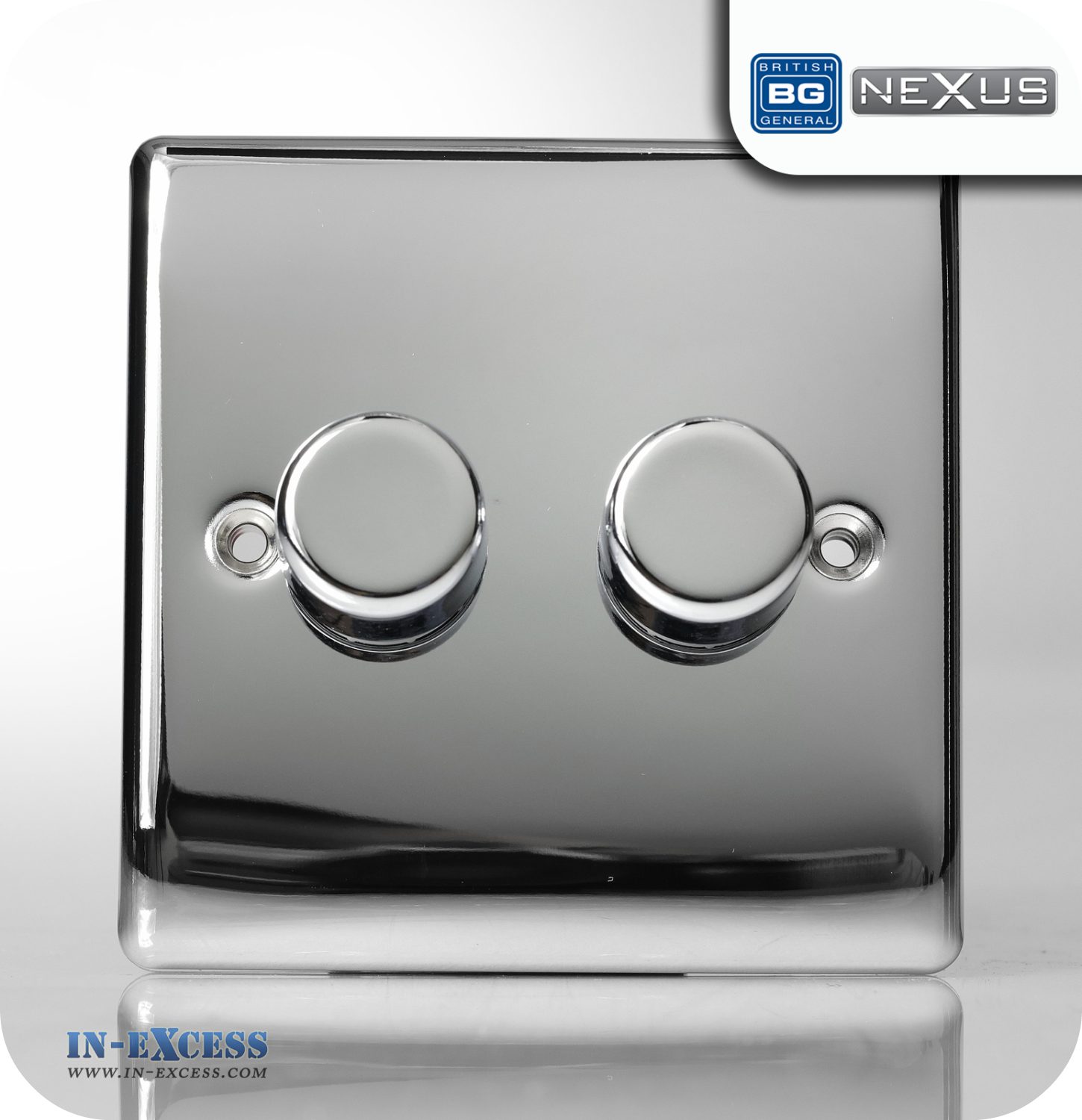 Bg Nexus Metal Double Dimmer Light Switch Polished Chrome Npc82p Wiring A Uk