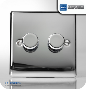 BG Nexus Metal Double Dimmer Light Switch - Polished Chrome