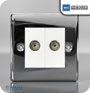 BG Nexus Metal Double TV Co-axial Socket Euro Modules - Polished Chrome