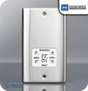 BG Nexus Metal Dual Voltage Shaver Socket - Brushed Steel