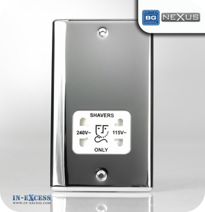 BG Nexus Metal Dual Voltage Shaver Socket - Polished Chrome