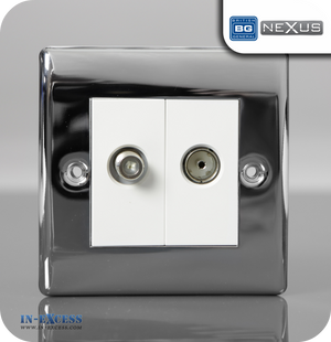 BG Nexus Metal Satellite and Co-axial Sockets Euro Modules - Polished Chrome