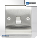 BG Nexus Metal Secondary Telephone Socket - Brushed Steel