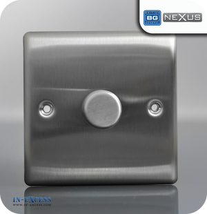 BG Nexus Metal Single Dimmer Light Switch - Brushed Steel