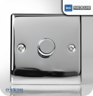 BG Nexus Metal Single Dimmer Light Switch - Polished Chrome