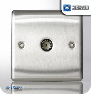 BG Nexus Metal Single TV Co-axial Socket - Brushed Steel