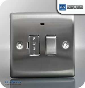 BG Nexus Metal Switched Fused Connection Unit with Neon - Brushed Steel