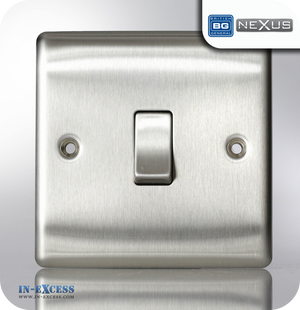 BG Nexus Metal Single Light Switch - Brushed Steel