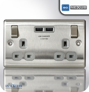 BG Nexus Metal Switched Double Socket with Double USB Charger - Brushed Steel