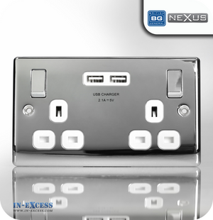 BG Nexus Metal Switched Double Socket with Double USB Charger - Polished Chrome