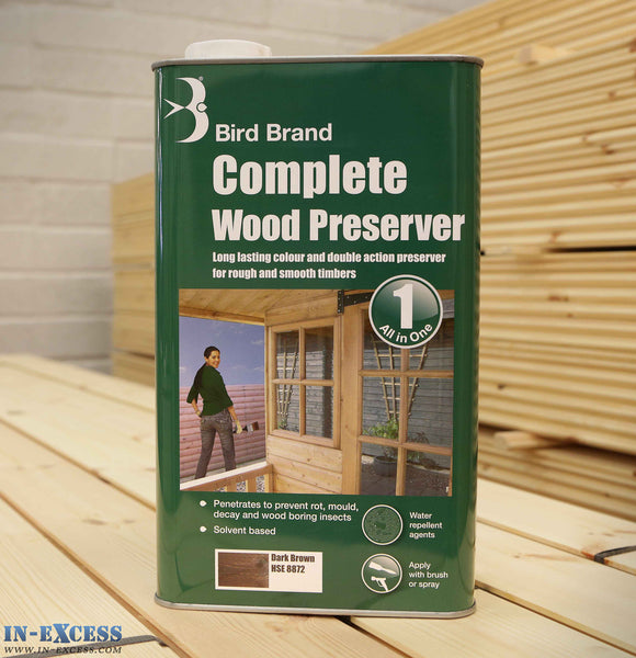 Bird Brand Complete Wood Preserver All in One 5L - Dark Brown