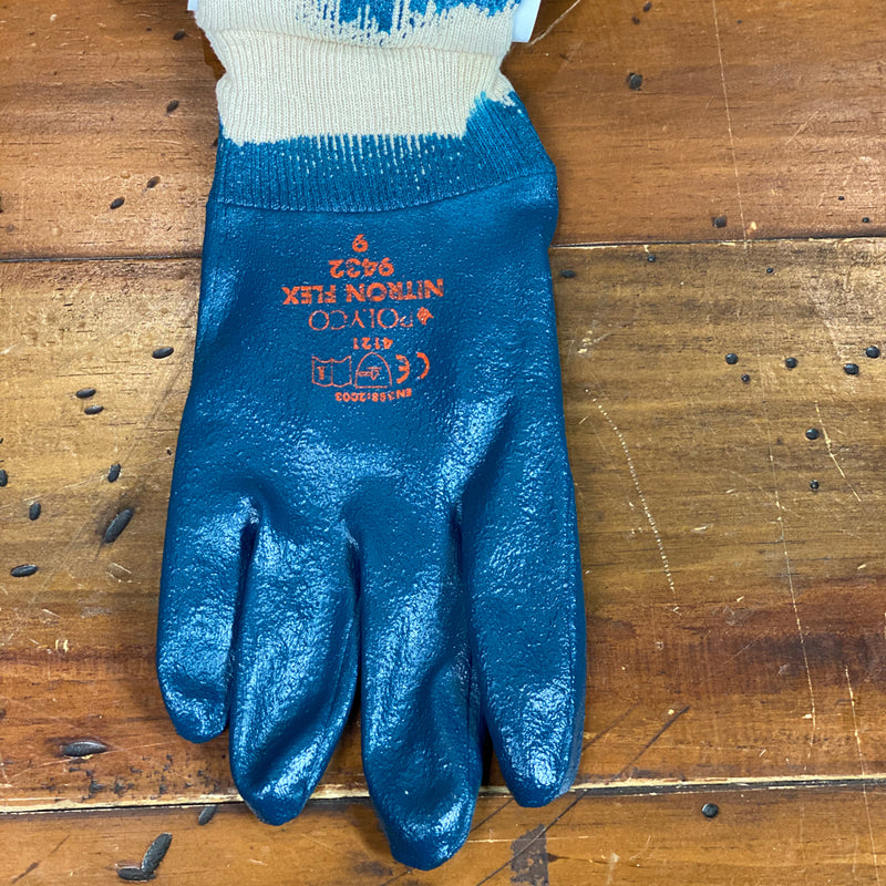 Rhino Nitron Flex Blue Vinyl Rubber Gloves - Medium
