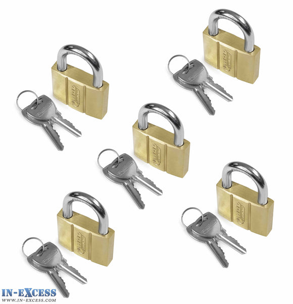 5x Bluekey Heavy Duty Solid Brass Keyed Alike 40mm Padlocks HS-B40-KA