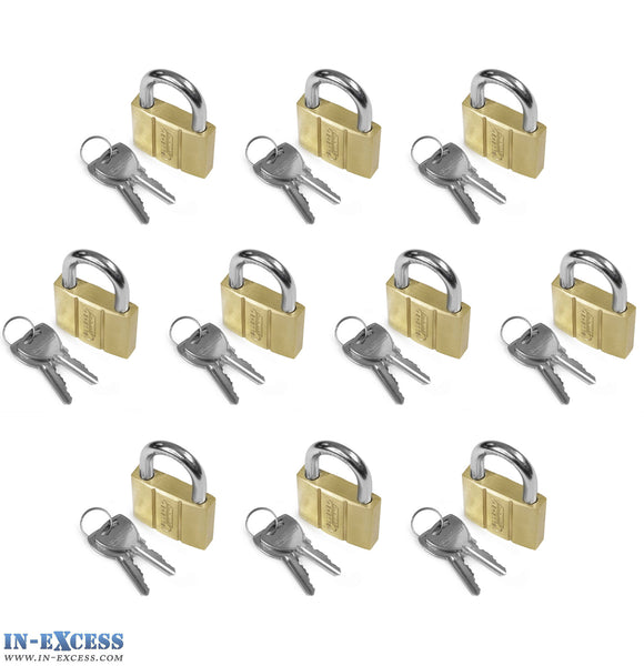 10x Bluekey Heavy Duty Solid Brass Keyed Alike 40mm Padlocks HS-B40-KA