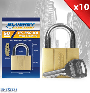 10x Bluekey Heavy Duty Solid Brass Keyed Alike 50mm Padlocks HS-B50-KA