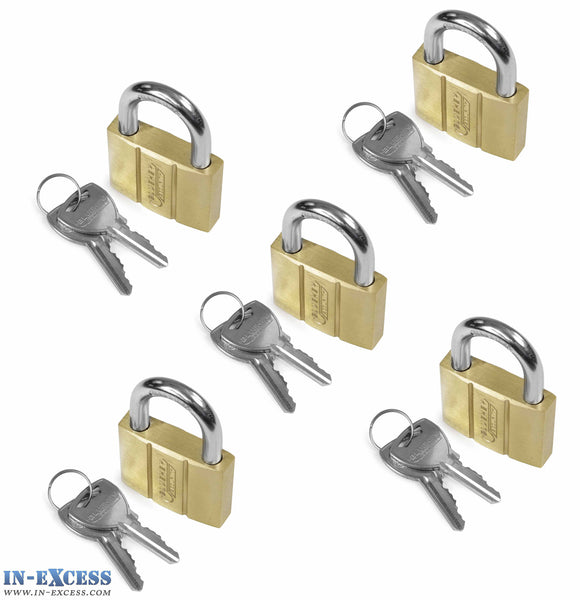 5x Bluekey Heavy Duty Solid Brass Keyed Alike 50mm Padlocks HS-B50-KA