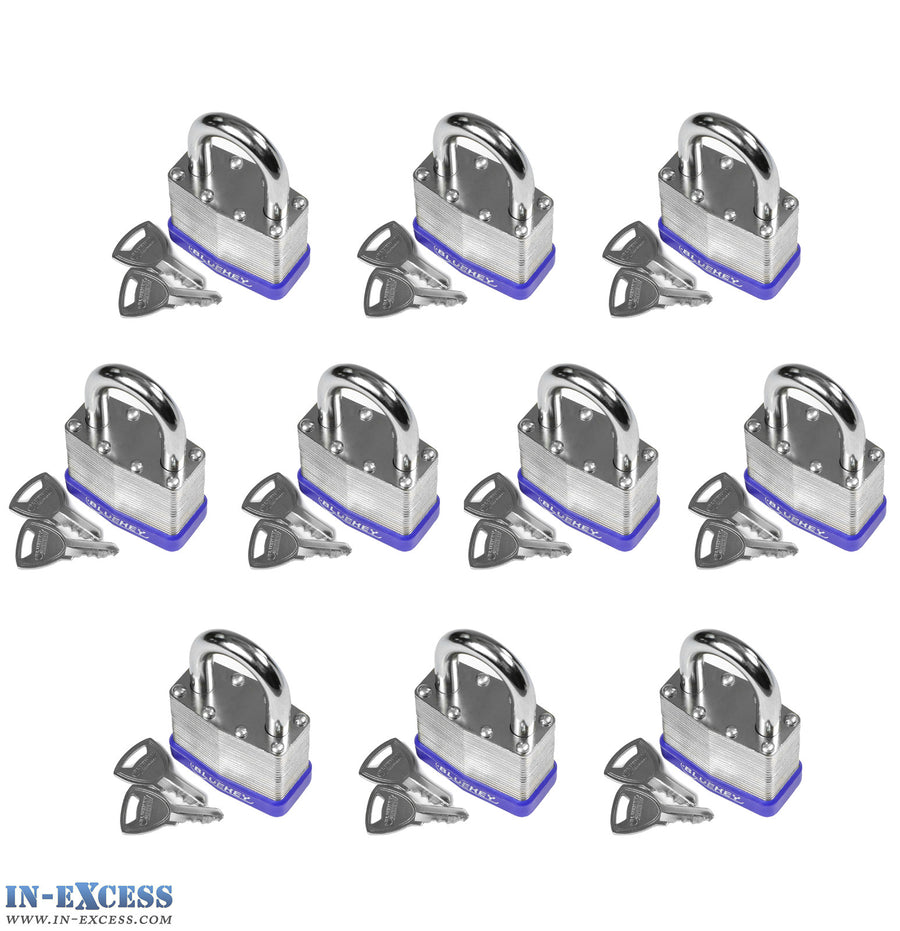 10x Bluekey Heavy Duty Laminated Steel Keyed Alike 50mm Padlocks HS-LS50-KA