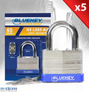 5x Bluekey Heavy Duty Laminated Steel Keyed Alike 65mm Padlocks HS-LS65-KA