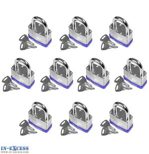 10x Bluekey Heavy Duty Laminated Steel Keyed Alike 65mm Padlocks HS-LS65-KA