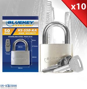 10x Bluekey Heavy Duty Stainless Steel Keyed Alike 50mm Padlocks HS-S50-KA