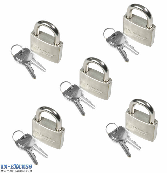 5x Bluekey Heavy Duty Stainless Steel Keyed Alike 50mm Padlocks HS-S50-KA