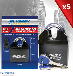 5x Bluekey Maximum Security Solid Iron Body Keyed Alike 60mm Padlocks MS-CSA60-KA