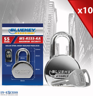 10x Bluekey Maximum Security Solid Steel Body Round Keyed Alike 55mm Padlocks MS-RS55-KA
