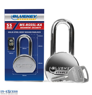 10x Bluekey Maximum Security Solid Steel Body Round Keyed Alike 55mm Padlocks MS-RS55L-KA