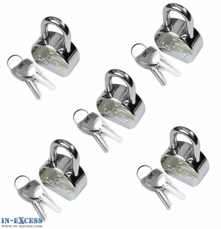 5x Bluekey Maximum Security Solid Steel Body Round Keyed Alike 55mm Padlocks MS-RS55L-KA