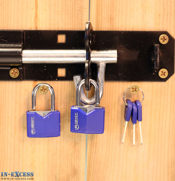 Bluekey Security Pair of 25mm Heavy Duty Vinyl Cover Solid Iron Key Padlock TS-V25-2KA