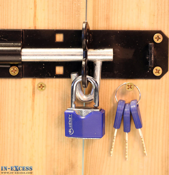 Bluekey Security 30mm Heavy Duty Vinyl Cover Solid Iron Key Padlock TS-V30