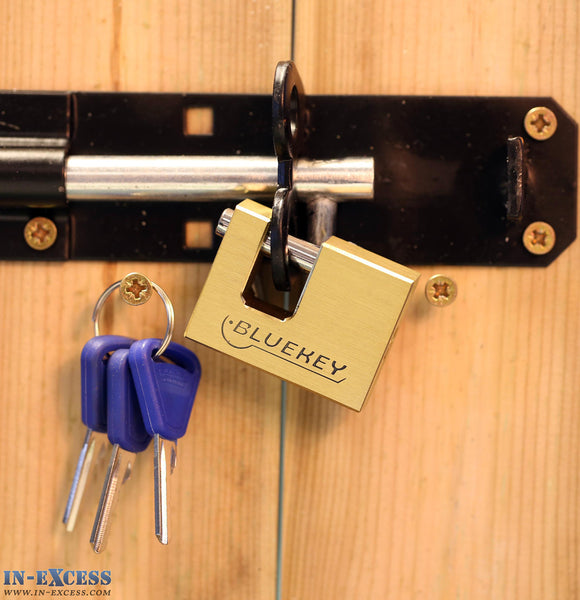 Bluekey Security 50mm Heavy Duty Solid Brass Straight Shackle Shutter Padlock MS-SB50