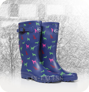 Briers Burwood Adjustable Neoprene Lined Wellington Walking Boots - Dog Patterned Wellies