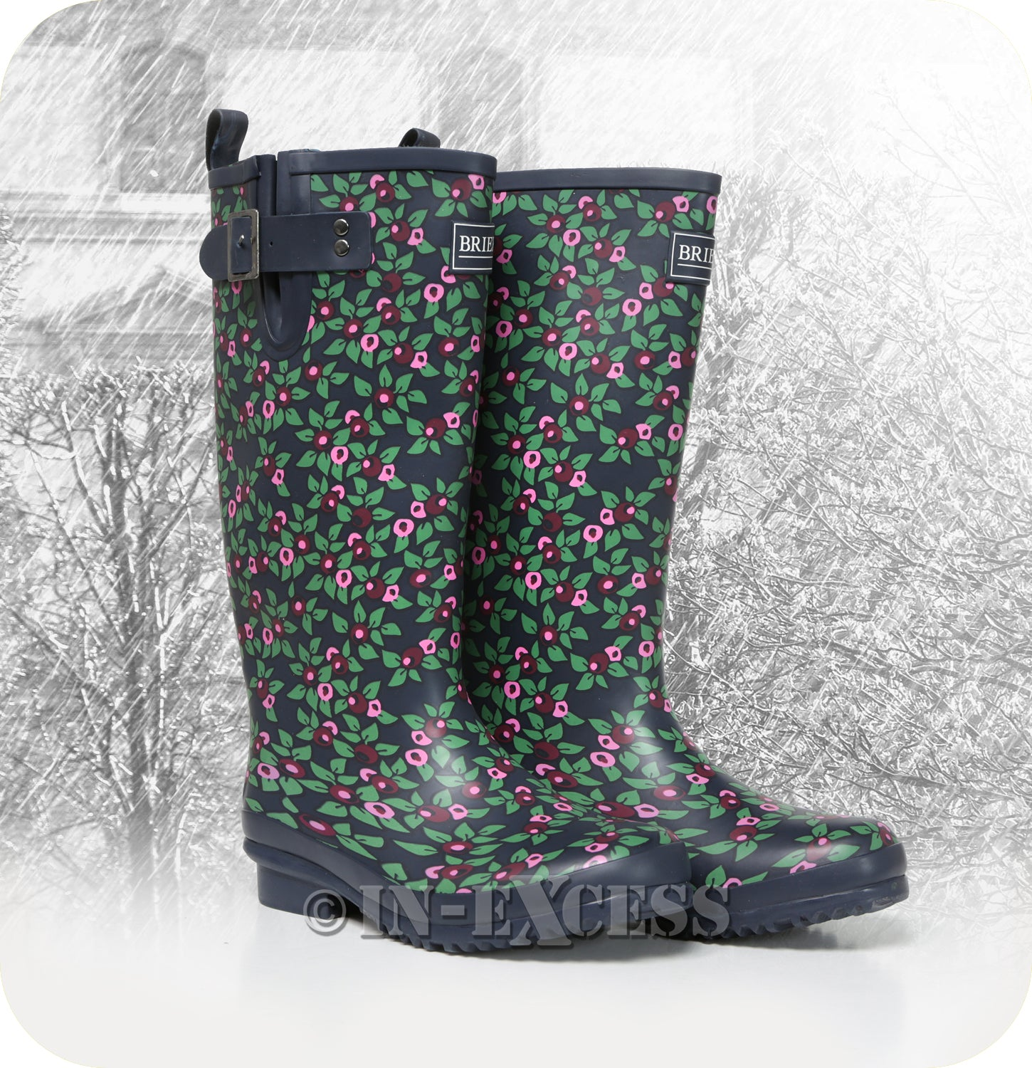bafa2398d Briers Stylish Adjustable Neoprene Lined Wellington Walking Boots - Plum  Floral Wellies