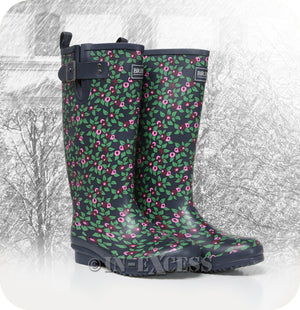 Briers Stylish Adjustable Neoprene Lined Wellington Walking Boots - Plum Floral Wellies
