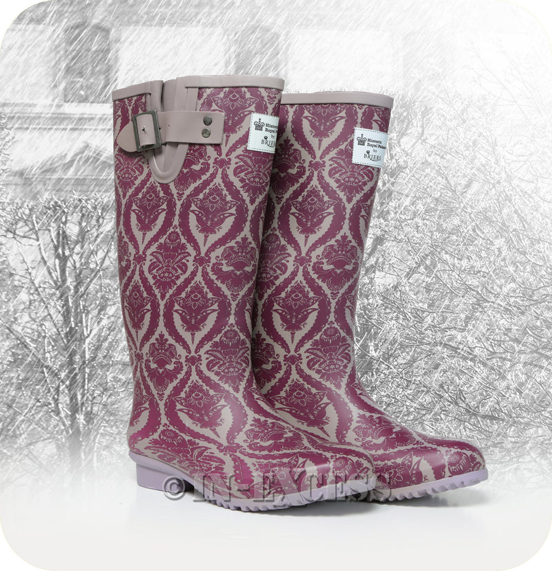 Briers Stylish Historic Adjustable Neoprene Lined Wellington Walking Boots - Purple Pattern Wellies