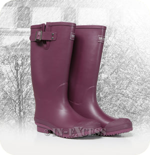 Briers Stylish Adjustable Neoprene Lined Wellington Walking Boots - Aubergine Wellies