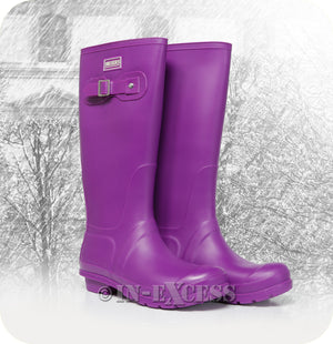 Briers Stylish Adjustable Neoprene Lined Wellington Walking Boots - Purple Wellies