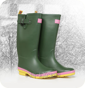 Briers Stylish Sandley Adjustable Neoprene Lined Wellington Walking Boots - Green & Pink Wellies