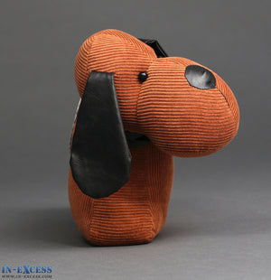 Hound Dog Brown Cord Fabric Door Stop 30.5 x 25.5cm