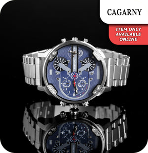 Cagarny Blitz Quartz Watch With Stainless Silver Link Strap - Blue & Silver