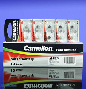 Camelion Plus Alkaline AG4 Button Cell Batteries, Battery, 1.5V, Watch - Pack of 100